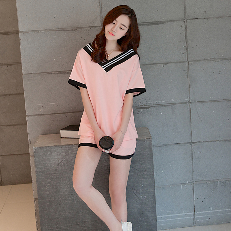 Woman   Pajamas     Sets   2019 New Brand Girls Sleepwear Women's short sleeved Pijamas Suit Home Clothes Pyjama Femme