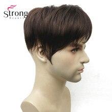 StrongBeauty Мужская парика-накладка синтетические волосы короткие волосы для наращивания волос