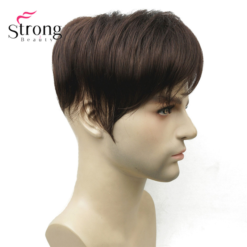StrongBeauty Men's Wig Toupee Synthetic Hair Short Toupe Hair Extensions Hair Piece COLOUR CHOICES