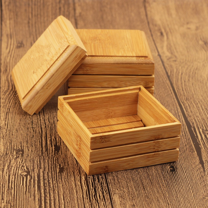 20pcs/lot Natural Bamboo Soap Dish Wooden Soap Tray Holder Storage Soap Rack Plate Box Container For Bath Shower Plate Bathroom