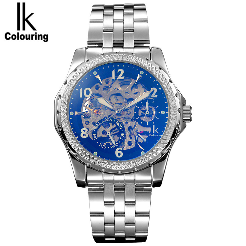 IK 2017 Casual Men's Orologio Uomo Skeleton Dial Horloge Auto Mechanical Wristwatch Original Box Free Ship original mg orkina orologio uomo luxury day flywheel automatic mechanical watch wristwatch gift box free ship