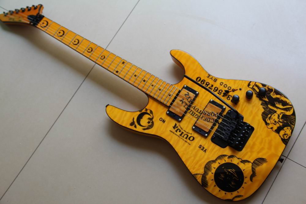 Wholesale New Arrival ES P ouija KH electric guitar E SP kirk hammett oujia moon electric guitar one piece neck In Yellow 130501 wholeslale dave grohl dg335 es 335 6 string electric guitar with great logo es 335 in white 100913