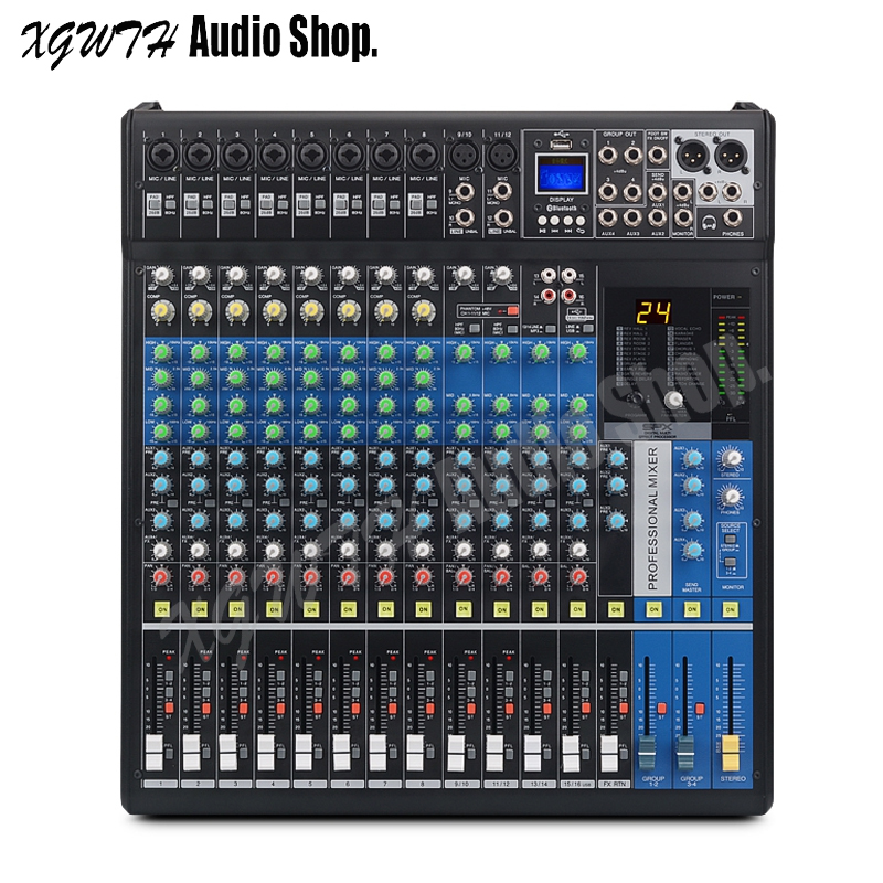 Professional 16XU MP3 Audio Mixer 16 Channel USB Bluetooth Mixing Console With 24 Digital Reverb Effects for Stage DJ