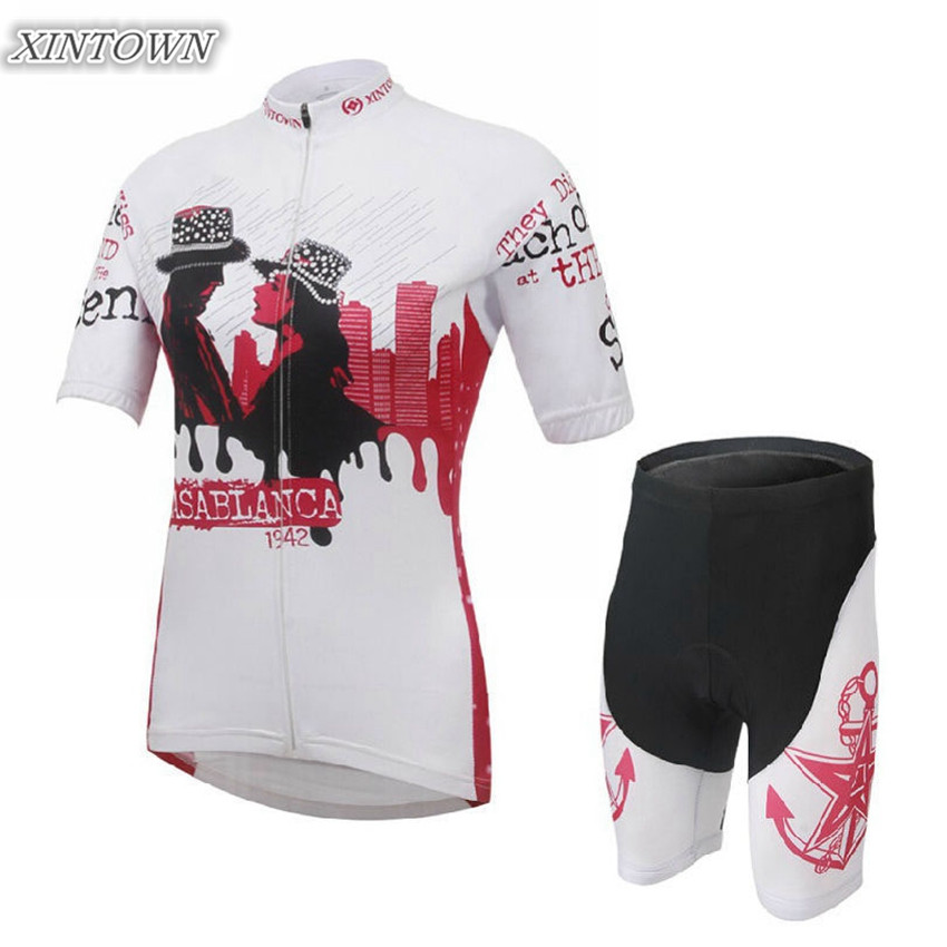 XINTOWN Women Bike Cycling Clothing/ Cycling Jersey Sets White Bicycle Girls Quick-dry Outdoor Sportwear CC0213