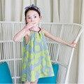 Nova verão 2017 roupas crianças breve vestido sem mangas meninas vestido de verão para little big beach girl dot imprimir Um vestido de linha de crianças roupas