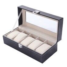Novo 5 Grade Slots de Refinamento Relógios de Luxo Caso Caixa de Coleção de Jóias Exibir Caixas De Armazenamento Organizador caixa parágrafo relogio 2017