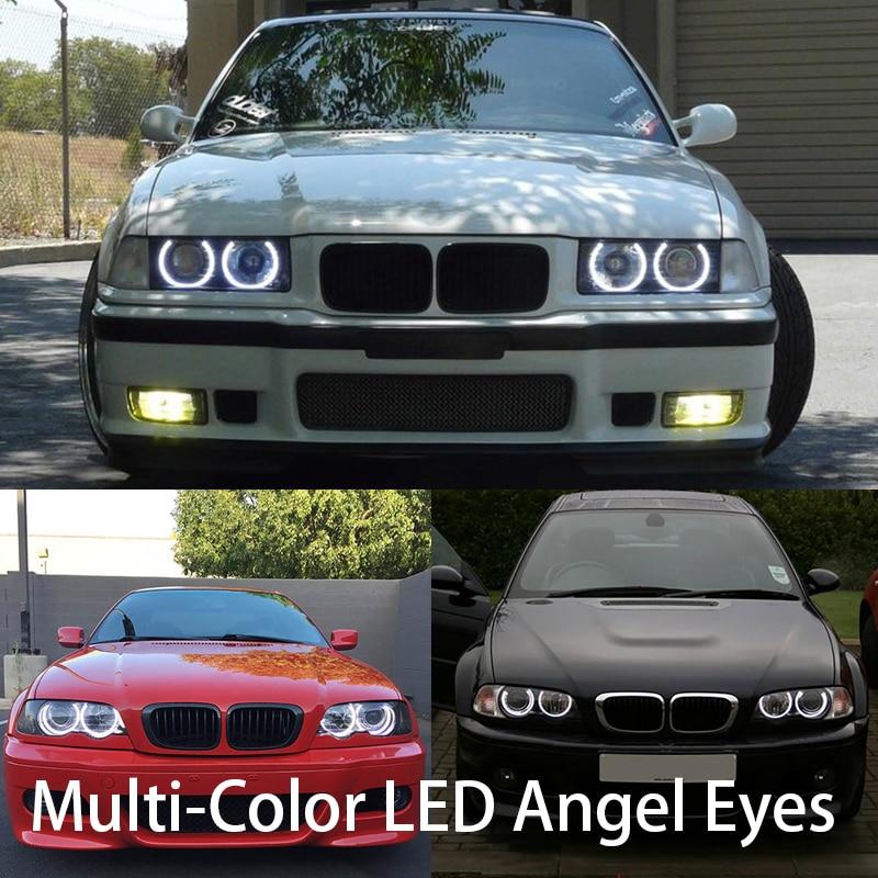 HochiTech Kit d'yeux d'ange de LED rvb multicolore Ultra lumineux pour BMW E36 E38 E39 E46 3 5 7 série phare au xénon