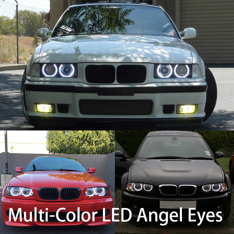 HochiTech Ultra bright Multi-Color RGB LED Angel Eyes Kit For BMW E36 E38 E39 E46 3 5 7 Series Xenon Headlight car styling for bmw e39 540i 530i 528i 525i 523i m5 2000 2003 post facelift headlight multi color ultra bright rgb led angel eyes kit