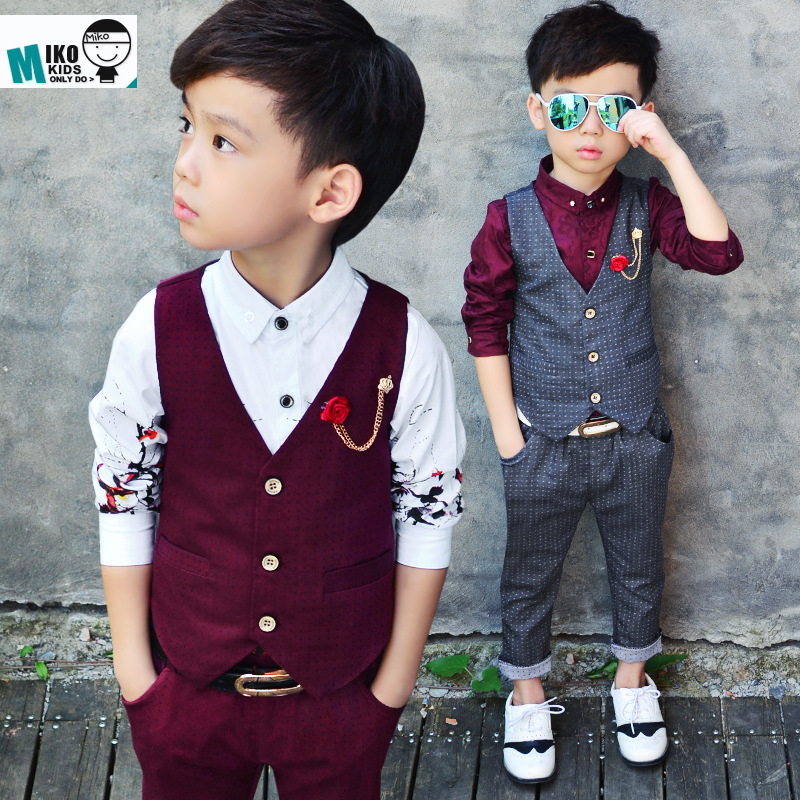 Dot Baby Clothing Set With Brooch Gentle And Slim Kid Boy Suit Vest Shirt Pant Wedding