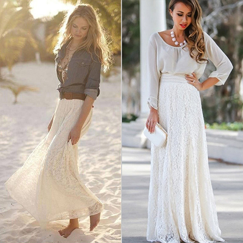 Women Summer Gypsy Boho Lace Layered Hitched Maxi Skirt A Line Long Dress