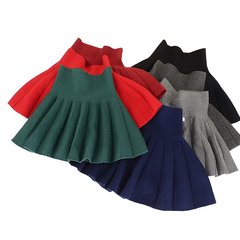Spring Autumn Winter Children Skirts Casual Color Red & Black Skirts For Girls New 2T-10T Kids Girls Pleated Skirts