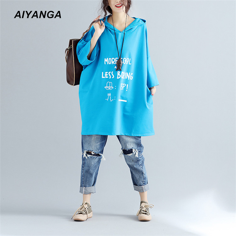 Big Size Women Cotton Long T Shirts 2017 Hooded Three Quarter Sleeve Letter Print Casual T