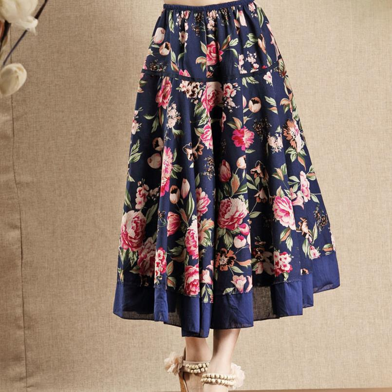 new Cotton Linen High Waist long Skirt Women Vintage print Skirt A-line
