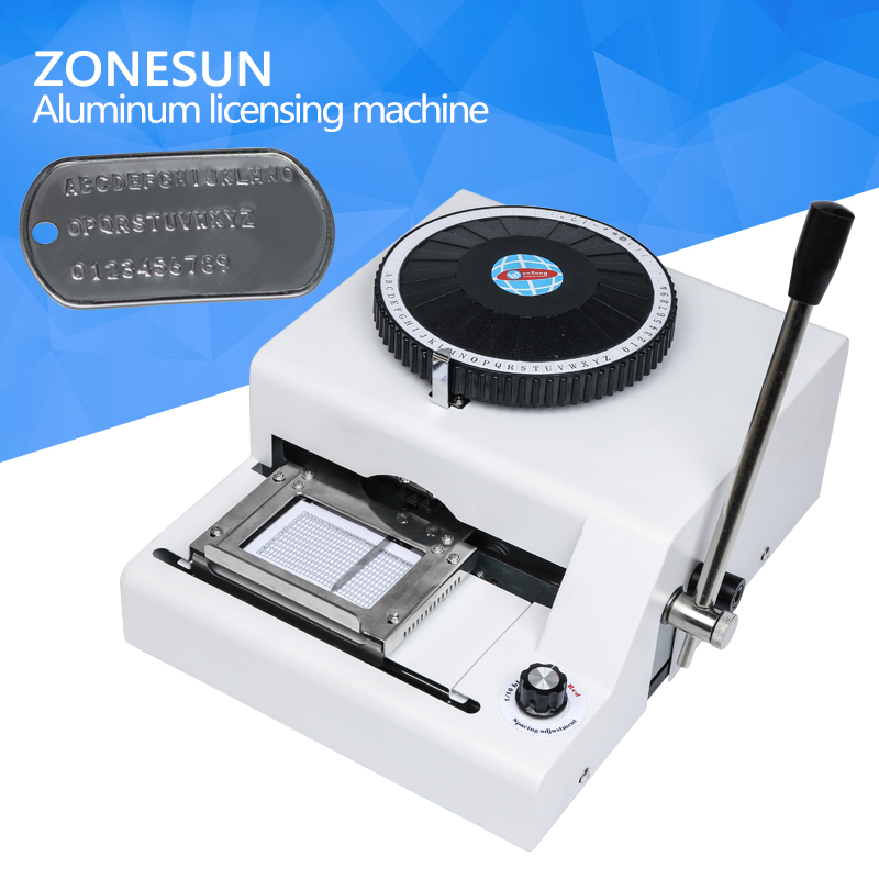 ZONESUN manual aluminum 52 character dog tag desktop steel stamp press Seal print engraving embossing machine