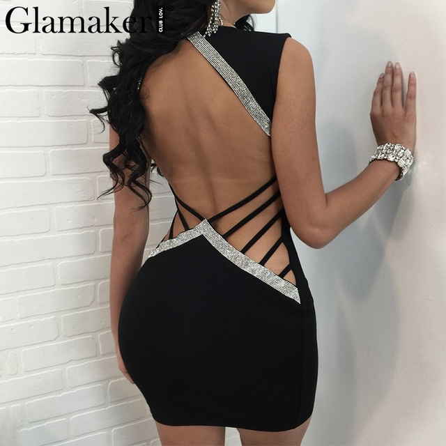 Glamaker Backless Dress Glamaker Sexy backless bandage summer dress Women bright slik v neck mini  party dress Female strip night club dress vestidos