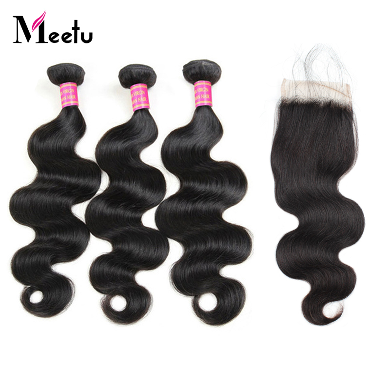 Meetu Body Wave Bundles With Closure Natural Black Peruvian Hair Bundles Non Remy Human Hair 3