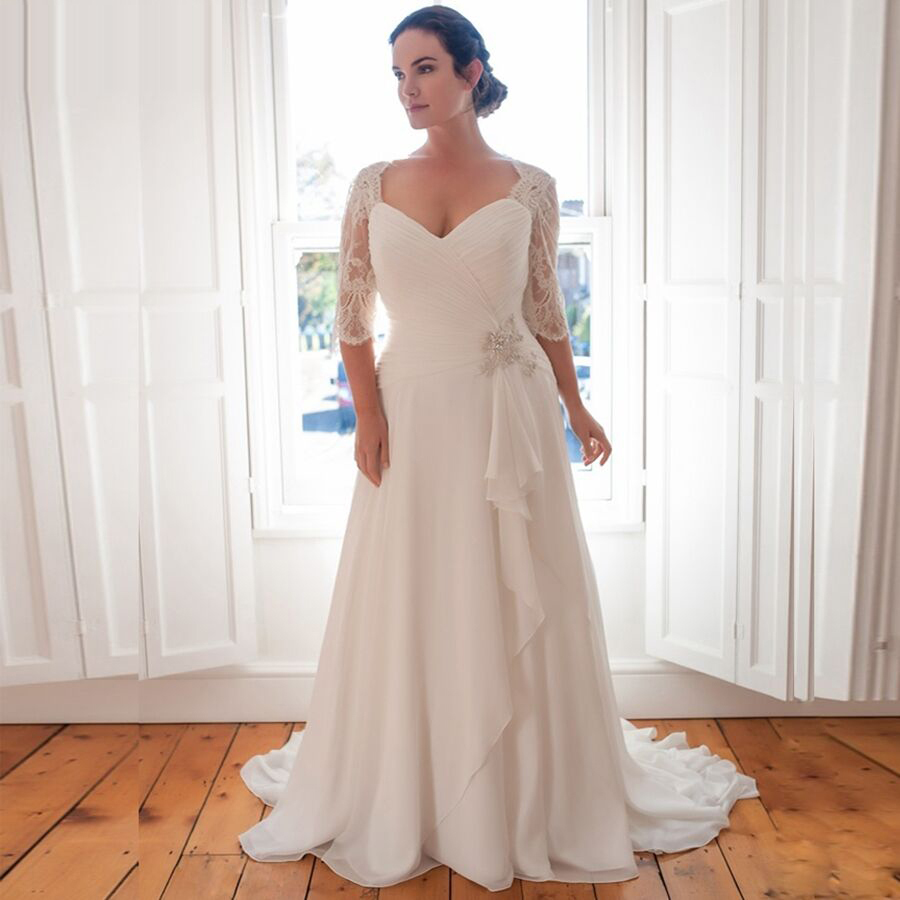 Cheap Plus Size Wedding Dress 2019 Vestido De Novia Longo Beaded Chiffon Bridal Dresses With Sleeves Robe De Marriage