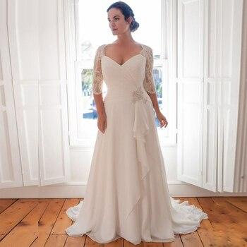 Cheap Plus Size Wedding Dress 2020 Vestido De Novia Longo Beaded Chiffon Bridal Dresses with Sleeves Robe de Marriage - discount item  38% OFF Wedding Dresses