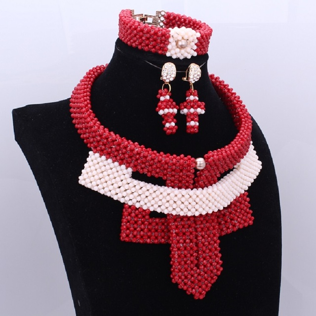African Beads Jewelry Set 2018 Red Beige Owl Handmade Jewelry Set Crystal Bridal Wedding Necklace Set for Women Free Shipping