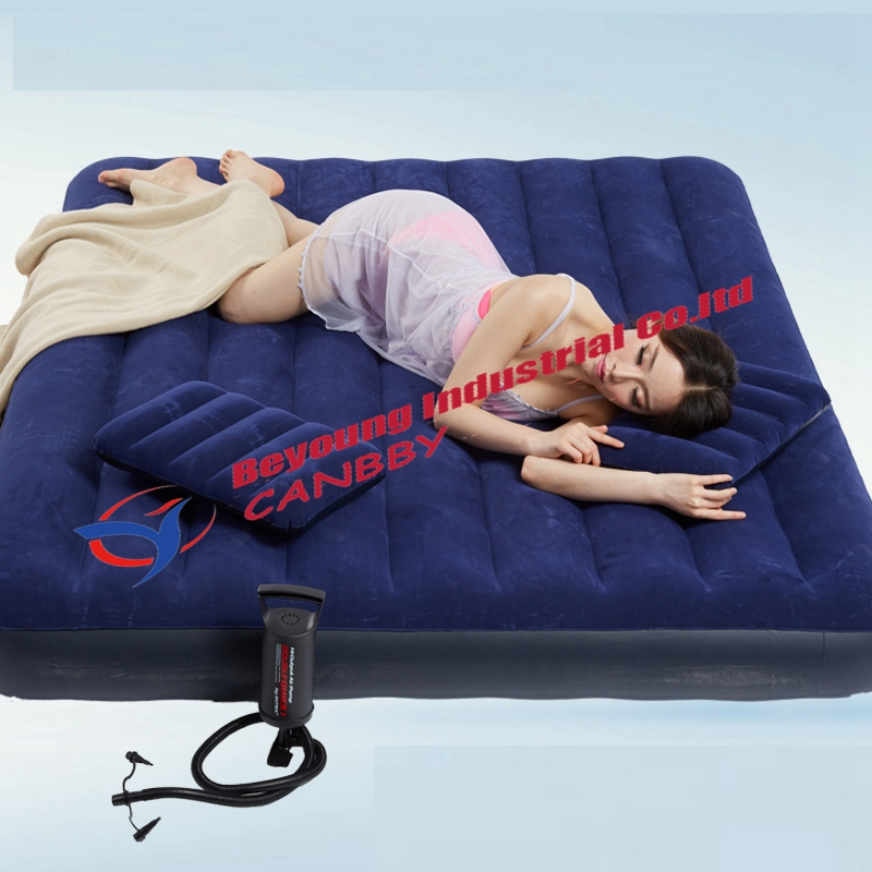 intex 68757 queen size inflatable flocked air mattress bed with hand pump and 2 inflatable pillow mattress
