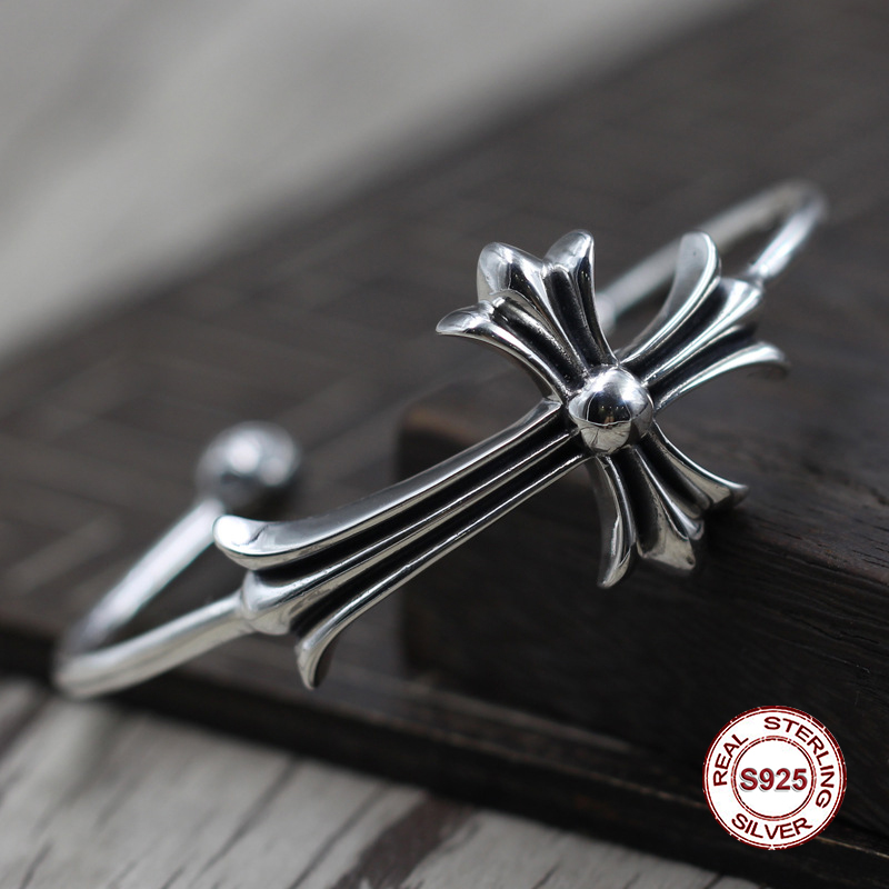 S925 Mens bracelet in Sterling Silver Personality retro cross opening Classic simple punk style Send a gift to loveS925 Mens bracelet in Sterling Silver Personality retro cross opening Classic simple punk style Send a gift to love