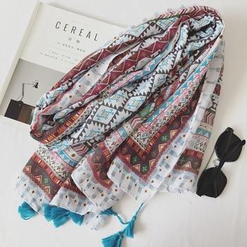 2017 Spring High Quality Soft Cotton Women Long Tassel Simple box of art print wild Scarf Slim elegant female Thin beach Shawls