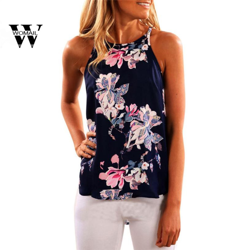 2018 New Sexy Fashion Women Sleeveless Flower Printed   Tank     Top   Casual Blouse Vest T Shirt Summer Dark Blue Mar 27