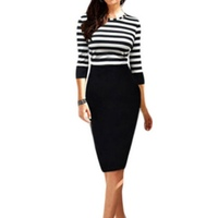 New Women Girl Striped Bandage Bodycon Winter Casual Party OL Work Pencil Dress