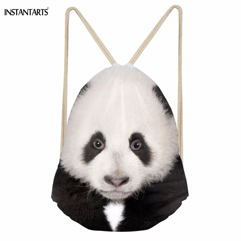 INSTANTARTS Cute 3D Animal Panda Printing Girls Drawstring Bags Casual Travel Beach Backpacks Chidren Bundle Storage Schoolbags
