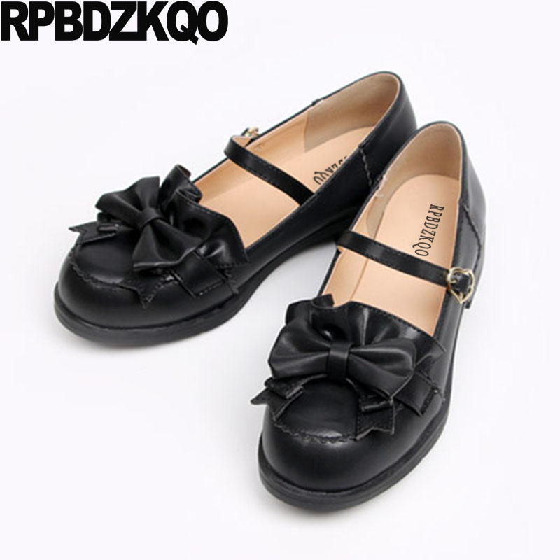 e78e28f34 Round Toe Ladies Women Flats Shoes With Little Cute Bowtie Japanese School  Heart Vintage Lolita Bow Mary Jane Kawaii Designer