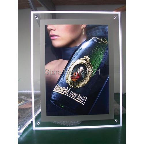 ФОТО Wall Led Crystal Acrylic A4 Size Picture Frame,Advertising Slim Led  Lightbox 6pcs/lot