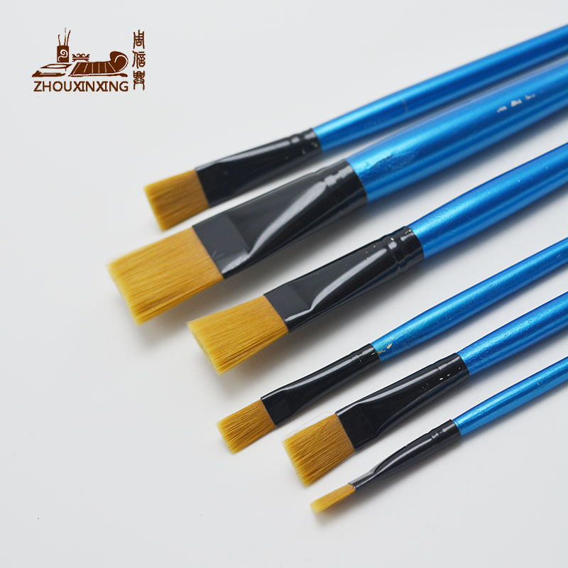 6pcs/Set, Watercolor Gouache Painting Pen Nylon Hair Blue Short Wooden Handle Paint Brush Set Drawing Materials Art Supplies