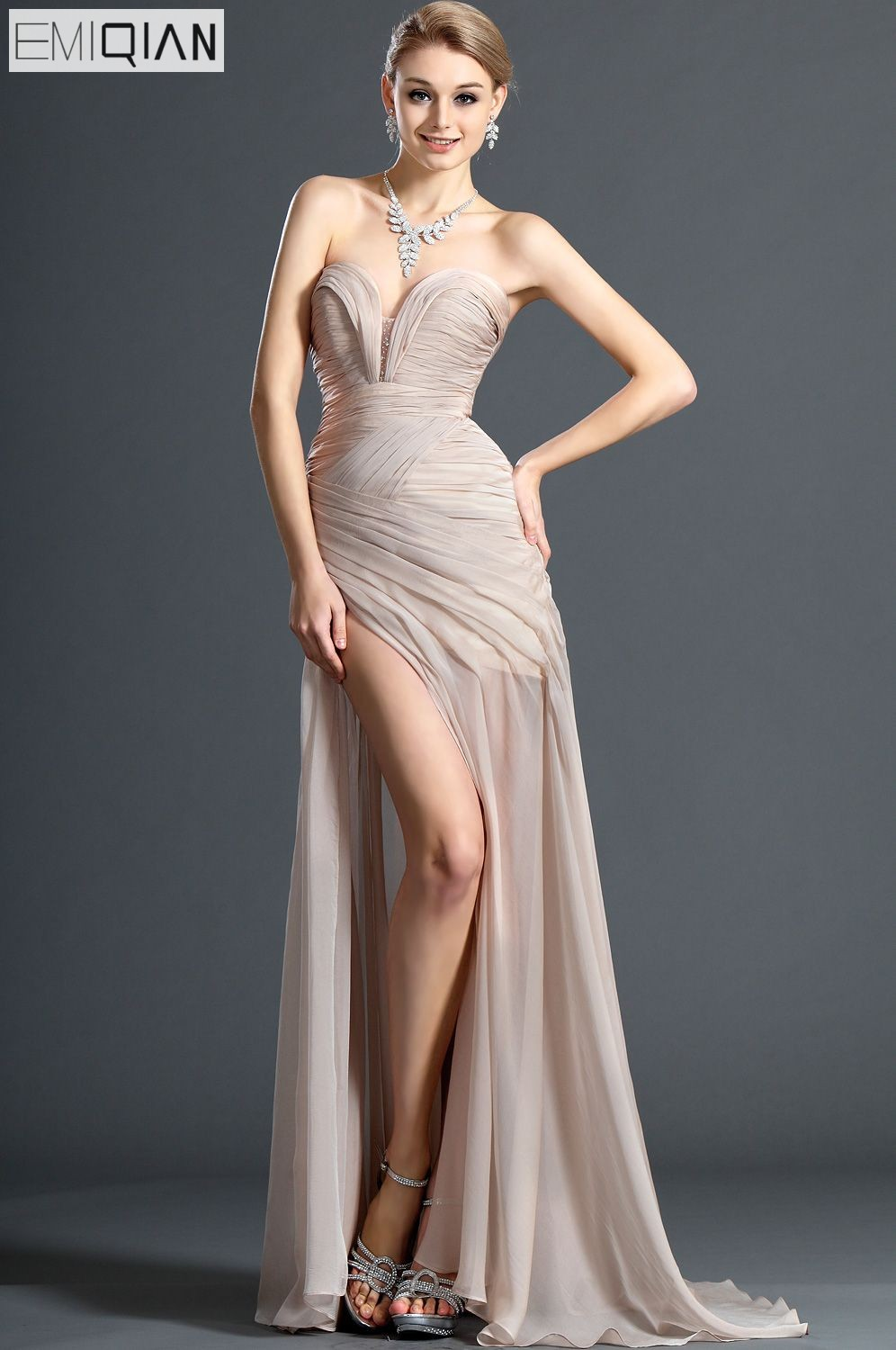 Freeshipping New Fashionable Strapless Notched Neckline Front Slit Champagne Chiffon   Evening     Dresses