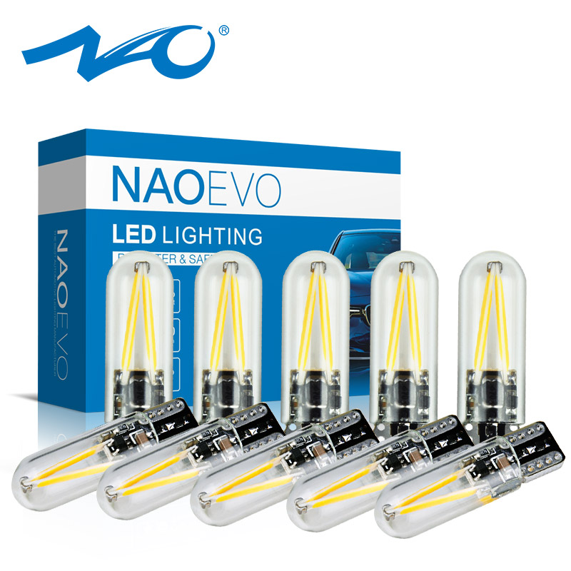 NAO Filament-Lamp Car-Interior-Lights W5w Led Led-Bulb Crystal Blue Auto Yellow Glass