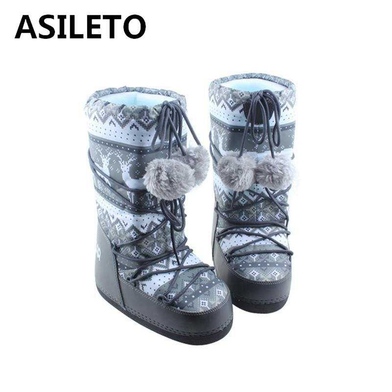 ASILETO 2018 Women s boots Girl Winter Warm snow Boots Platform mid calf boots  booties creepers Warm 8eb33fb823fc