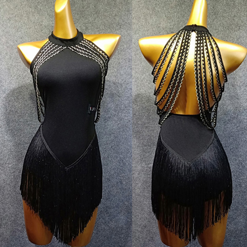 Latin Dance Dress Adults Black Open Back Tassels Sleeveless Competition Dresses Samba Dancing Costumes Clothes Stage