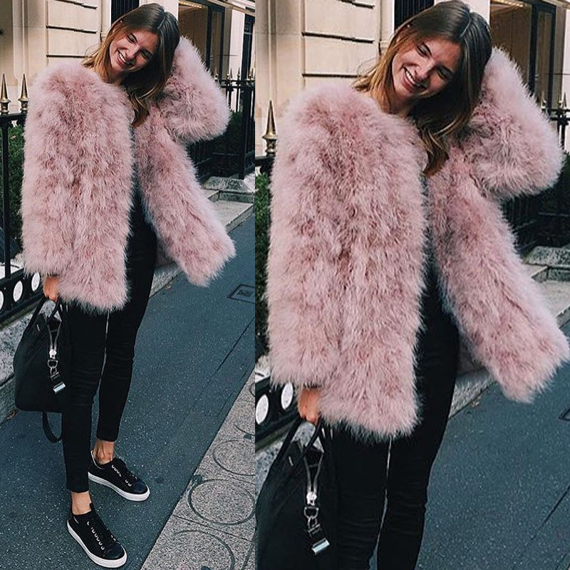 Blush/White X-long Women 2017 Real Fur Coat Genuine Ostrich Feather Fur Winter Jacket For Weddings Retail / Wholesale Quality