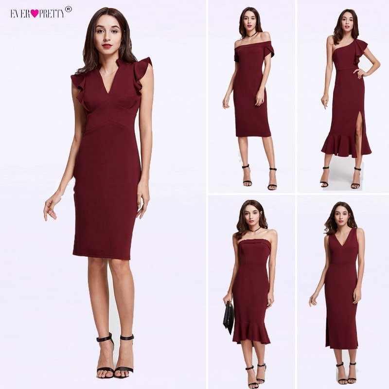 זול אחת כתף קוקטייל שמלות אי פעם די ראפלס בת ים מסיבת שמלות בורגונדי תה אורך vestido coctel robe דה קוקטייל