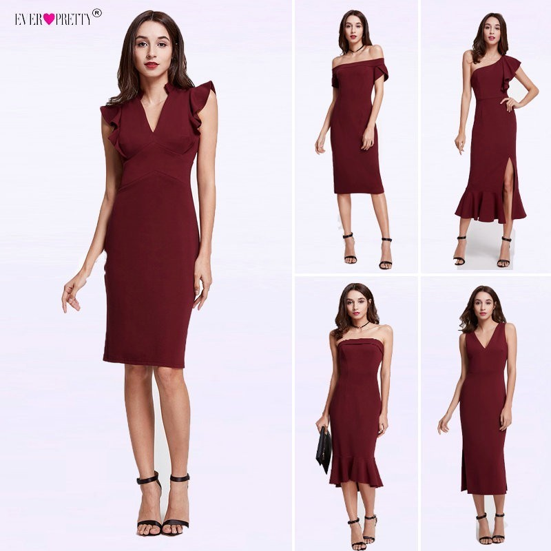 Cheap One-Shoulder   Cocktail     Dresses   Ever Pretty Ruffles Mermaid Party Gowns Burgundy Tea Length vestido coctel robe de   cocktail