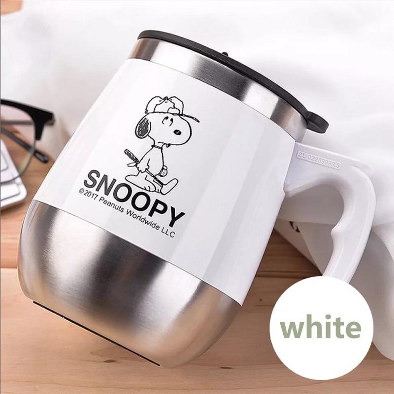 Snoopy 450ML Mug Coffee Cup Stainless Steel Milk Tea Mug Keep Mugs With Handle Anti-Dust Coffee Cups Seal Mass Tea Water Bottle