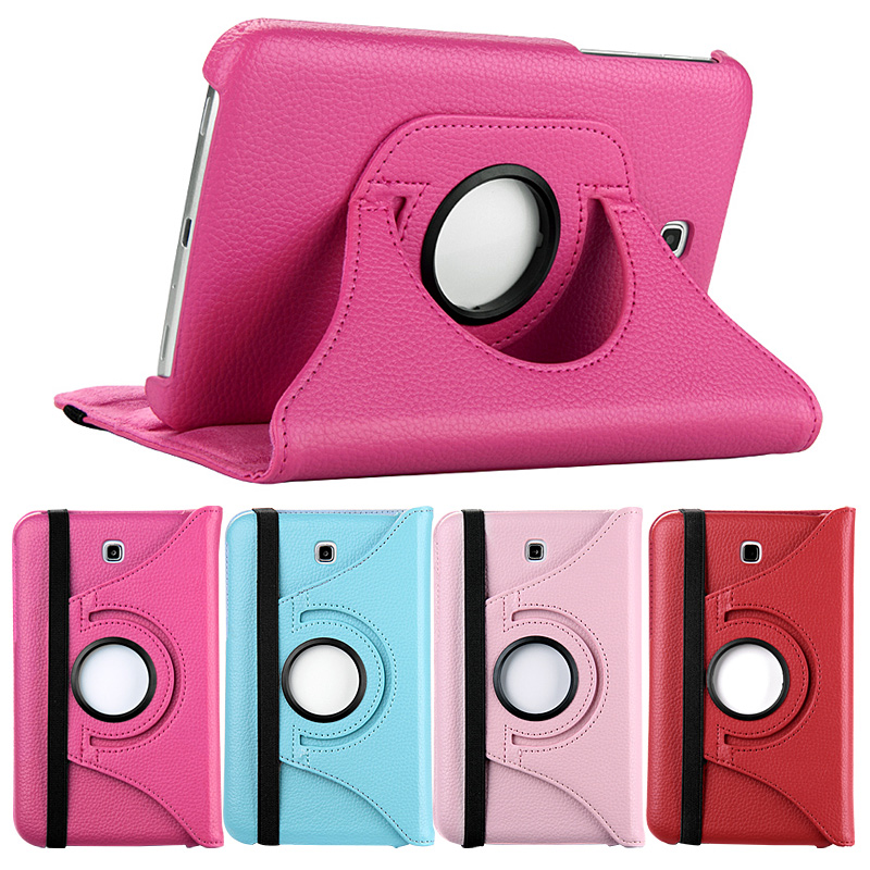 360 Rotating PU Leather Stand Cover Case for Samsung Galaxy Tab 3 7.0 T210 T211 P3200 P3210 GT-P3200 7 inch Tablet PC cases rotating lichee pattern pu leather case cover stand for samsung galaxy tab 3 7 0 p3200 sky blue
