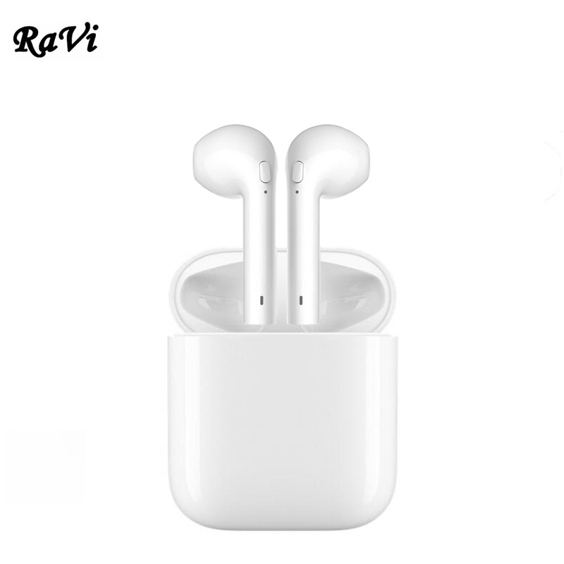 цена RAVI Mini Double Bluetooth Earphone Wireless Ear Phone Twins Earbuds For pads Apple iPhone 5s 7 Xiaomi Huawei Headphones Headset