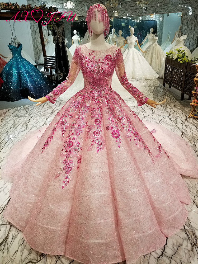 AXJFU Princess pink lace beading illusion evening dress luxury long sleeve flower dubai evening dress 100% real photo 66880