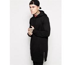 New Arrival Free Shipping Fashion Men's Long Black Hoodies Sweatshirts Feece With Side Zip Longline Hip Hop Streetwear Shirt