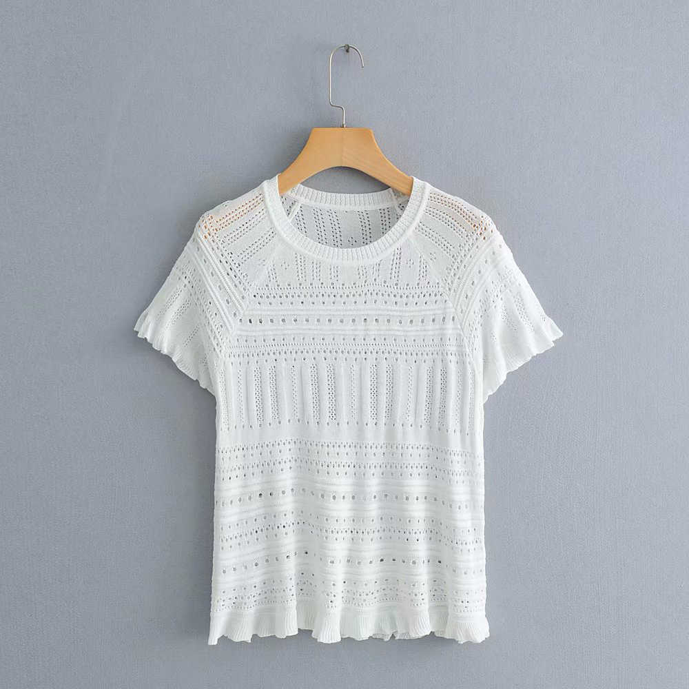 2019 Women Spring Summer Za Black White Knitted Blouse Female Hollow Short Sleeve Transparent O-neck Shirts Tops blusas mujer