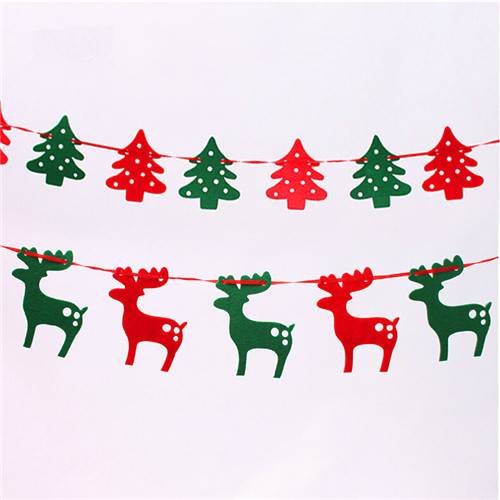 christmas reindeer christmas tree 19 meters felt cloth elk pull flag bunting decoration christmas gifts and decorations banners in christmas from home - Christmas Reindeer Decorations