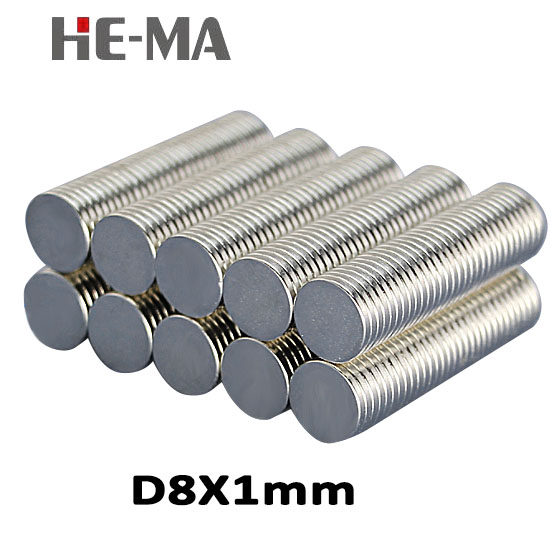 imanes 100Pcs 8x1 Neodymium Magnet Permanent N35 NdFeB Super Strong Powerful Magnetic Small Magnets HE-MA Disc 8mmx1mm