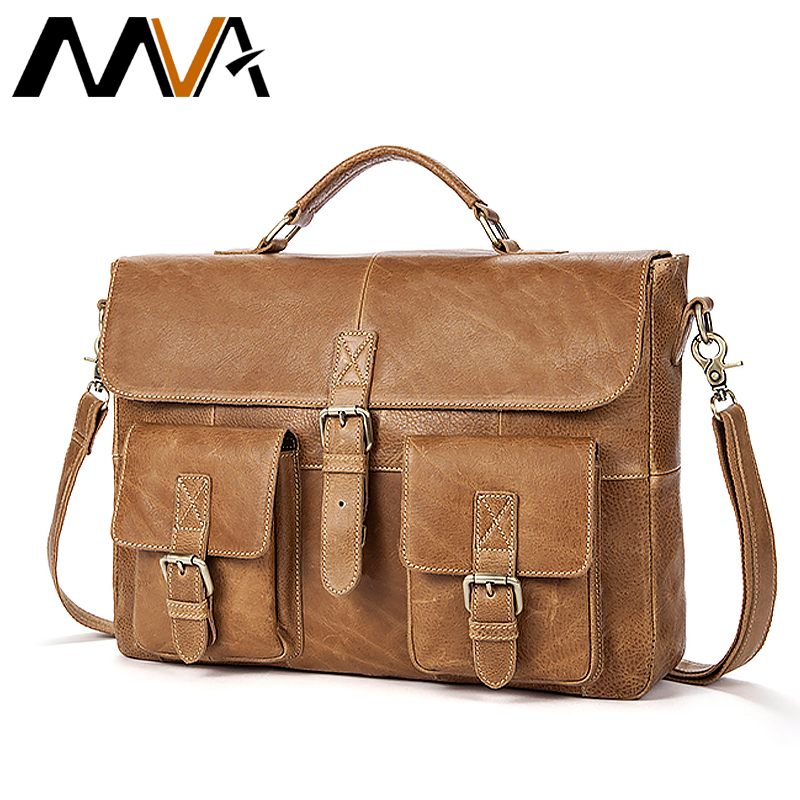 Messenger Bag Men Leather Vintage Business Briefcases Genuine Leather Laptop Mens Bags Travel Office Shoulder Bags For Men  8927