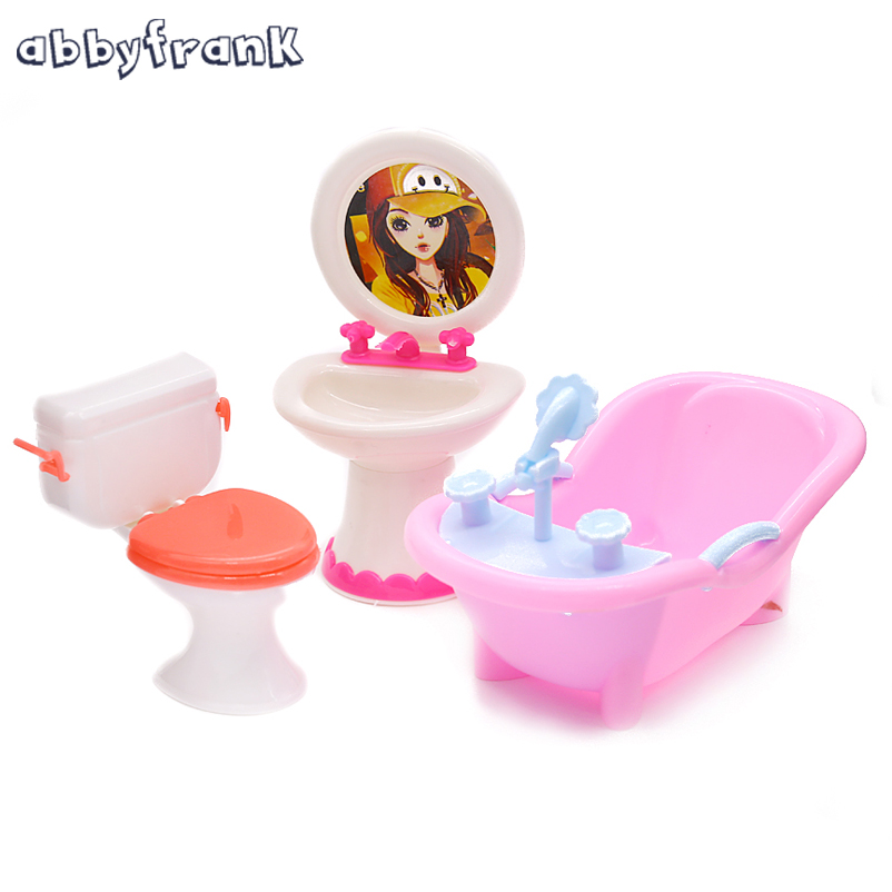 Abbyfrank Doll Furniture Toy Toilet Bathtub Bath Bathing Bowl Toilet Can Flip Wash Basin Sink Bathroom Doll Accessories Doll Toy