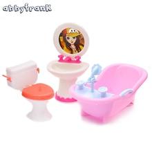 Abbyfrank Doll Furniture Toy Toilet Bathtub Bath Bathing Bowl Toilet Can Flip Wash Basin Sink Bathroom